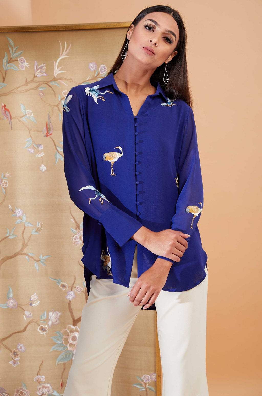 Patine-Blue Crane Jaal Botton Down Shirt-INDIASPOPUP.COM