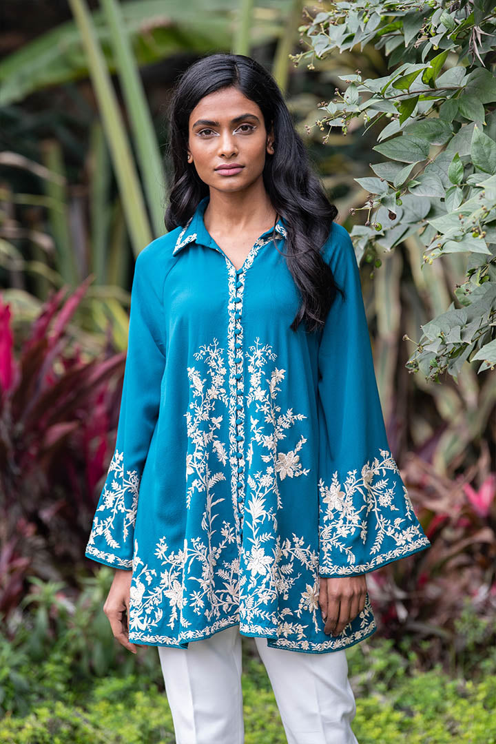 Patine-Blue Classic Gara Hand Embroidered Shirt-INDIASPOPUP.COM