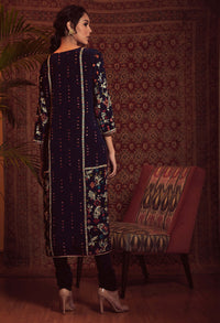 Patine-Deep Blue Kurta Set With Mukesh Dupatta-INDIASPOPUP.COM