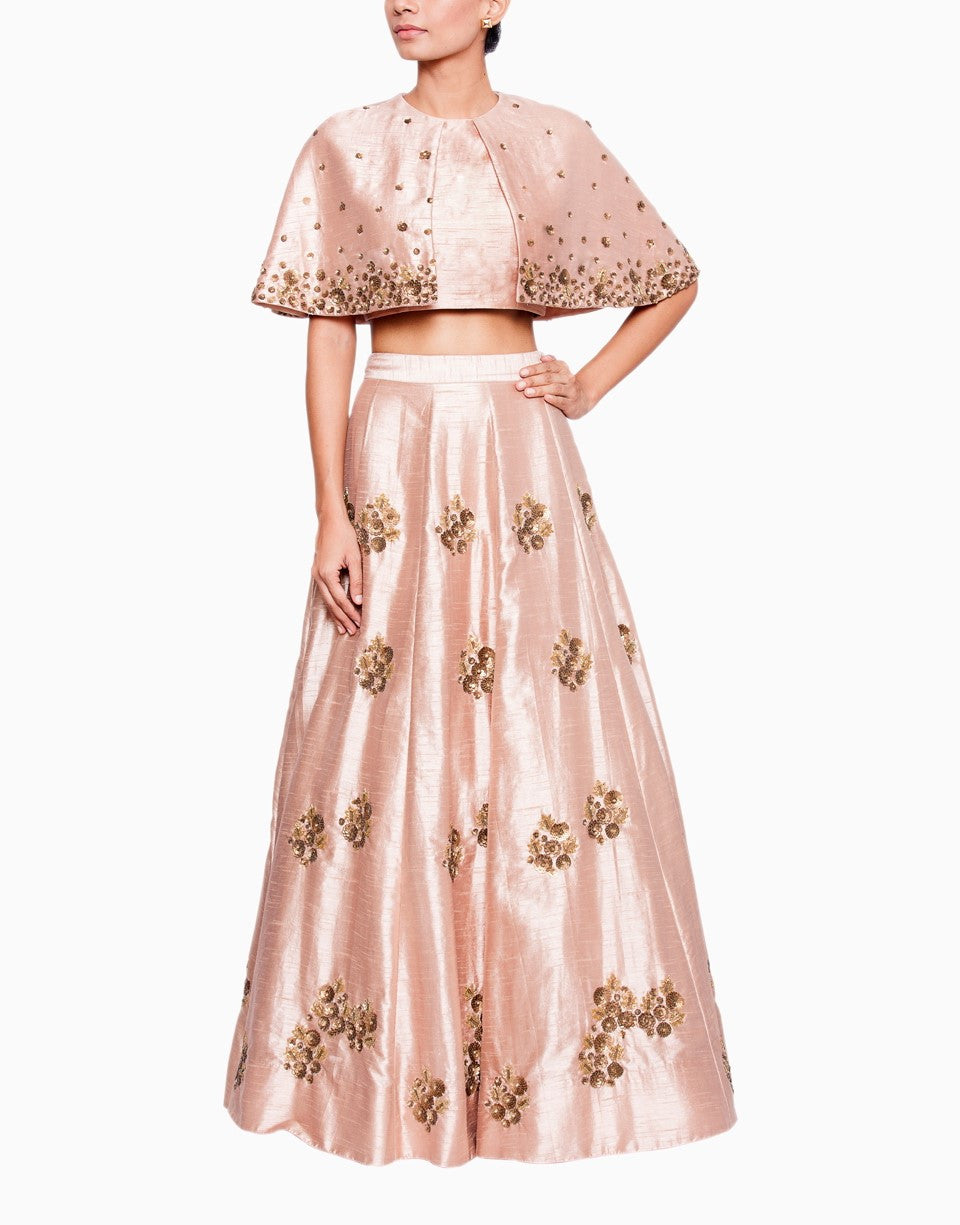 SALT AND SPRING PEACH LEHENGA WITH BRONZE EMBROIDERY