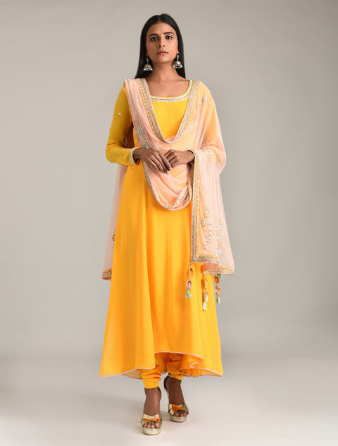 Madsam Tinzin - Sunrise Yellow Anarkali Set - INDIASPOPUP.COM
