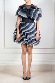 Shriya Som-Black & White Pleated Ruffle Dress-INDIASPOPUP.COM