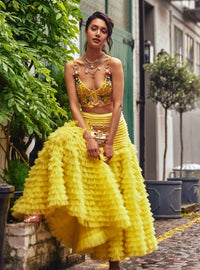 Papa Don'T Preach By Shubhika - Lime Yellow Ruffled Skirt Set - INDIASPOPUP.COM