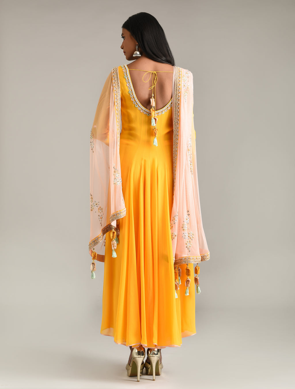 MADSAM TINZIN SUNRISE YELLOW ANARKALI SET