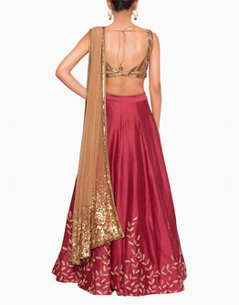 Embellished BronzeBlouse , Embroidered Maroon Lehenga