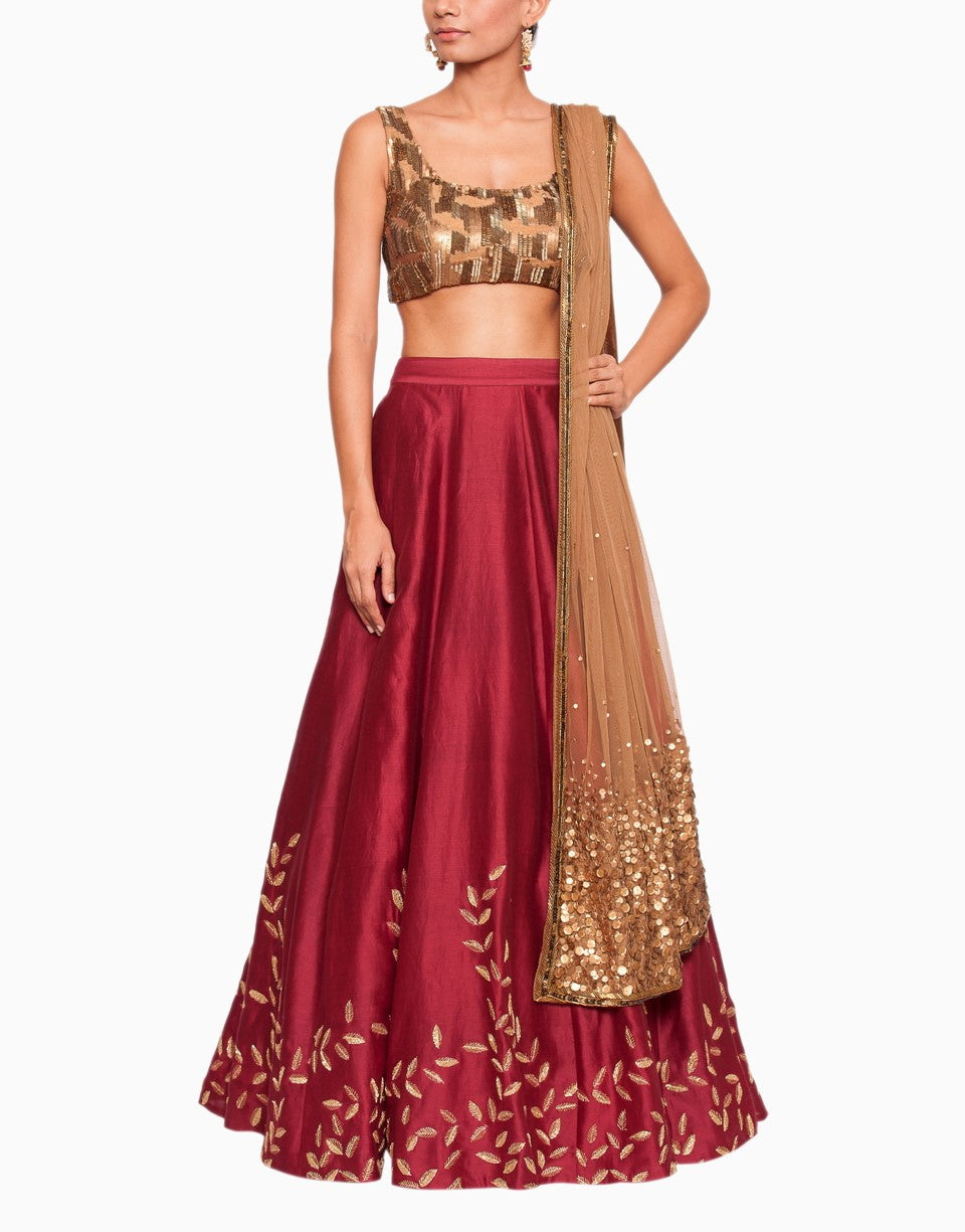 SALT AND SPRING GOLD EMBELLISHED MAROON LEHENGA