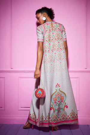 Siddhartha Bansal-Grey Paisley Long Dress-INDIASPOPUP.COM