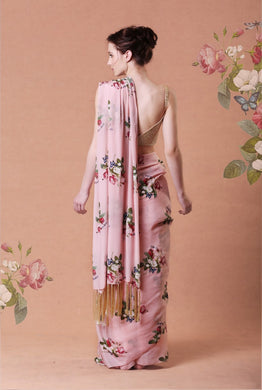 Pink Printed Saree with tassels