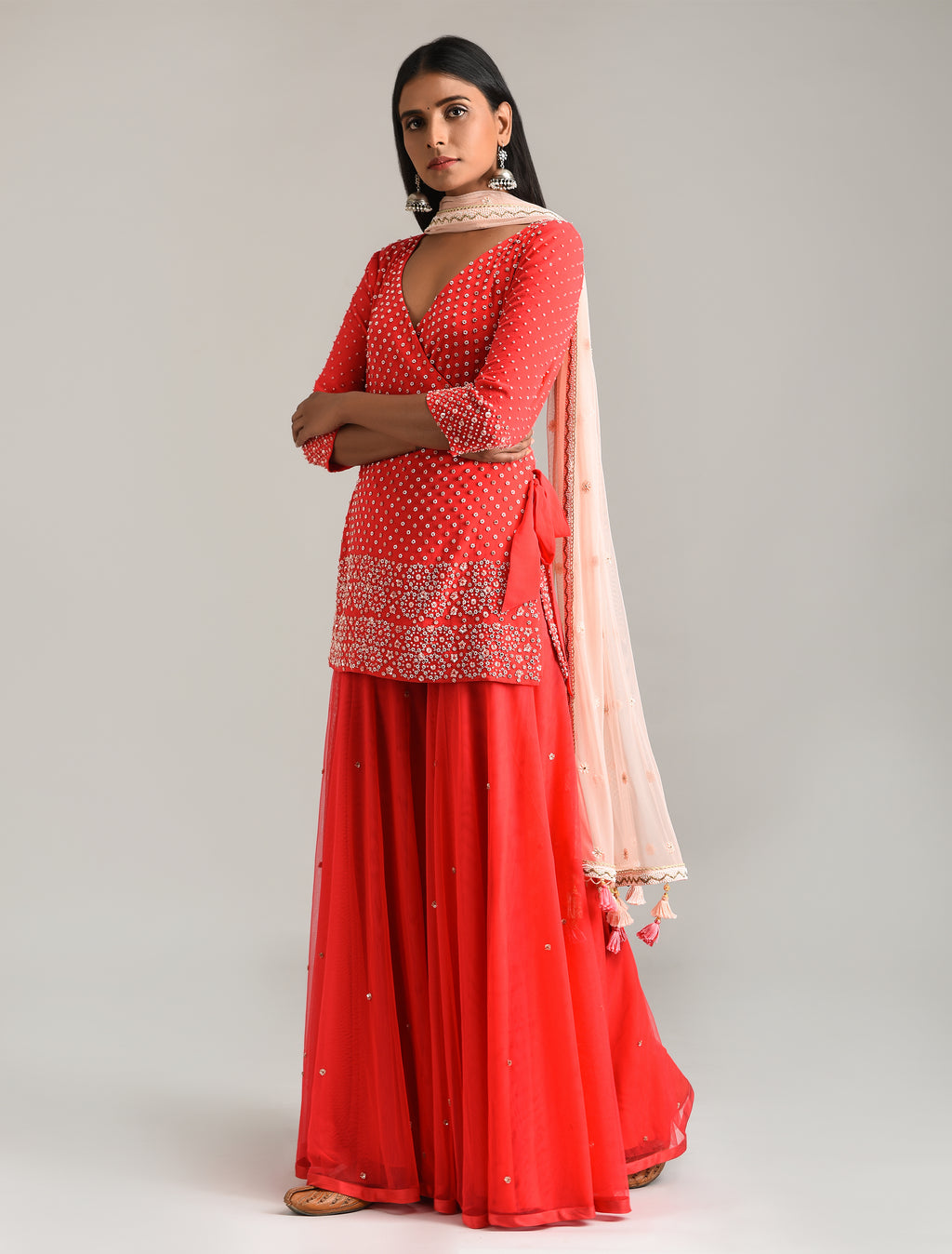 MADSAM TINZIN RED EMBROIDERED GHARARA SET