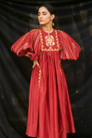 Chandrima-Red Gather Dress Kurta-INDIASPOPUP.COM