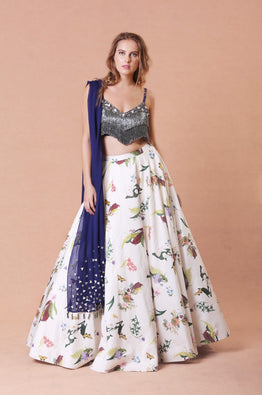 Embellished  Grey Fringes Lehenga