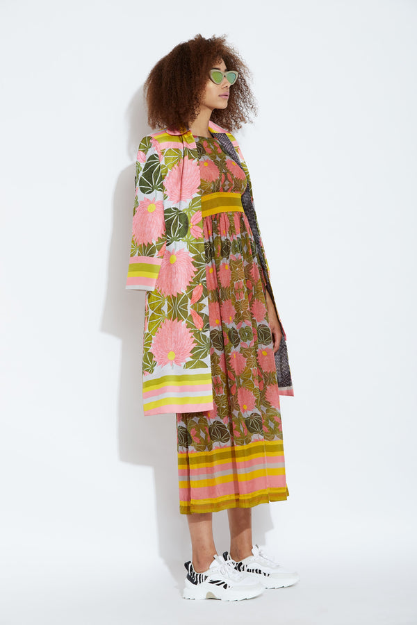 Aartivijay Gupta-Multi Lotus Dress With Jacket-INDIASPOPUP.COM