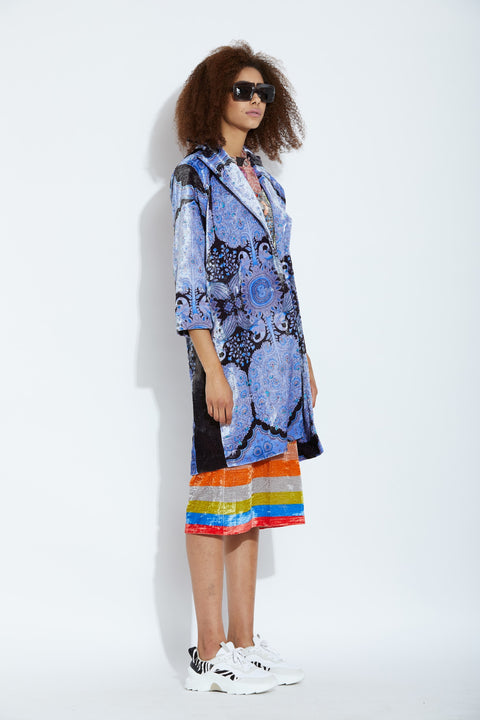 Aartivijay Gupta-Blue Peacock Dress With Jacket-INDIASPOPUP.COM