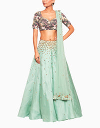 SALT AND SPRING TROPICAL PRINT GREEN LEHENGA