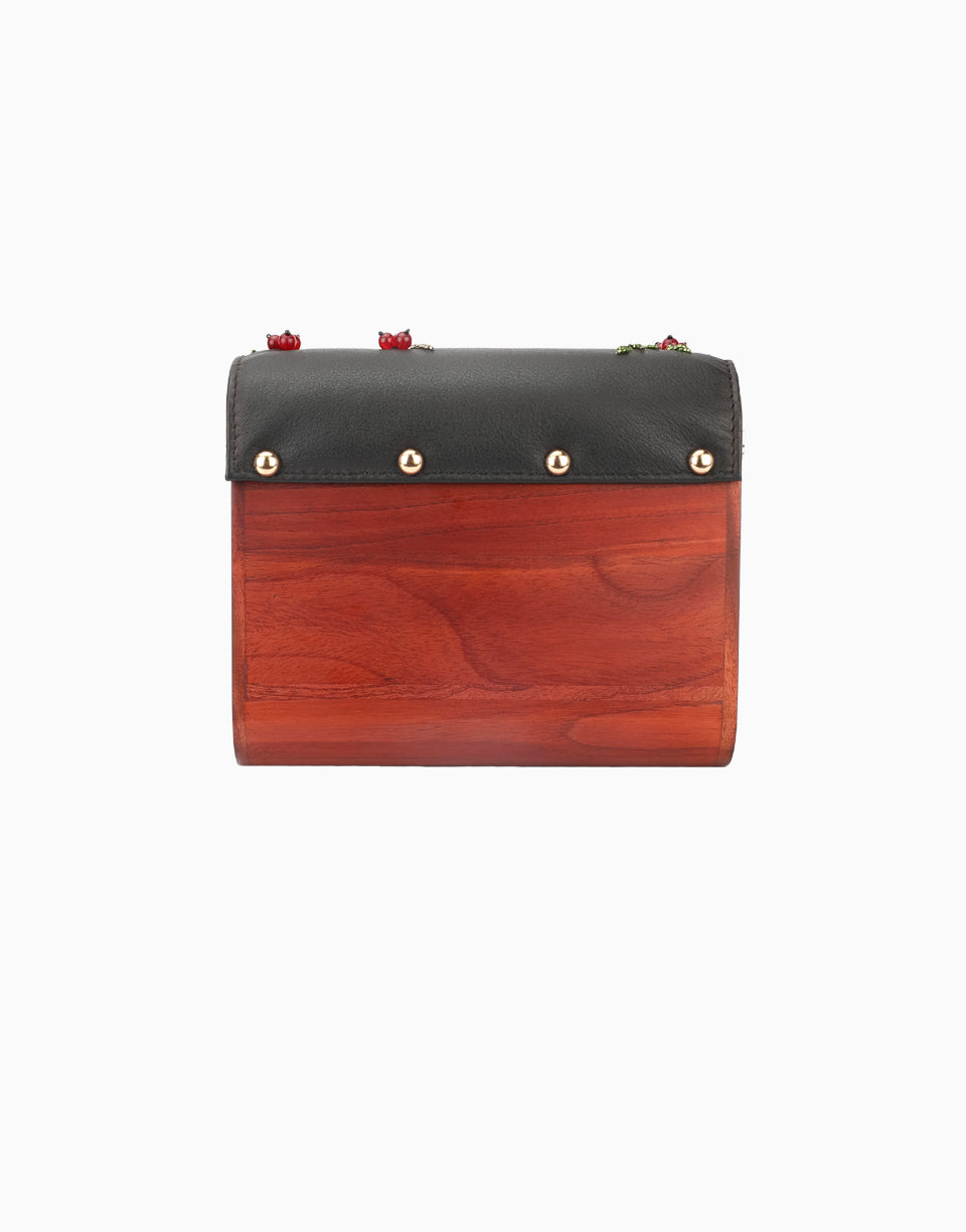 Duet Luxury - Black Wood Flap Clutch - INDIASPOPUP.COM