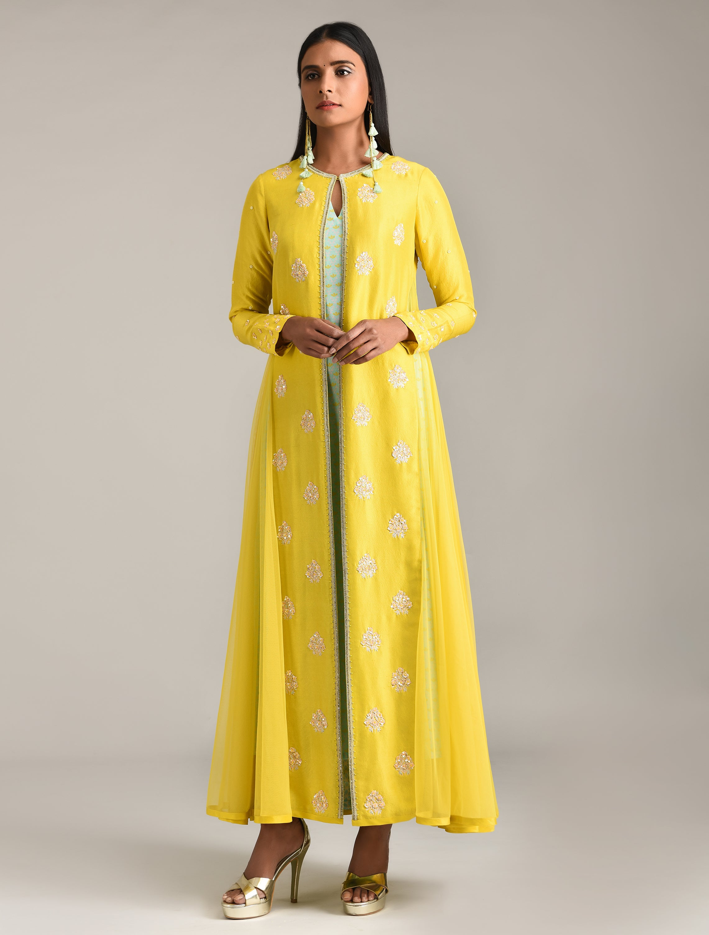 Yellow Embroidered Jacket & Kurta Set