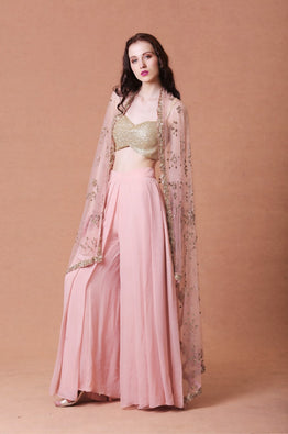 Blush Embellished Cape with pants