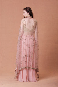 Mahima Mahajan - Blush Embellished Cape With Pants - INDIASPOPUP.COM