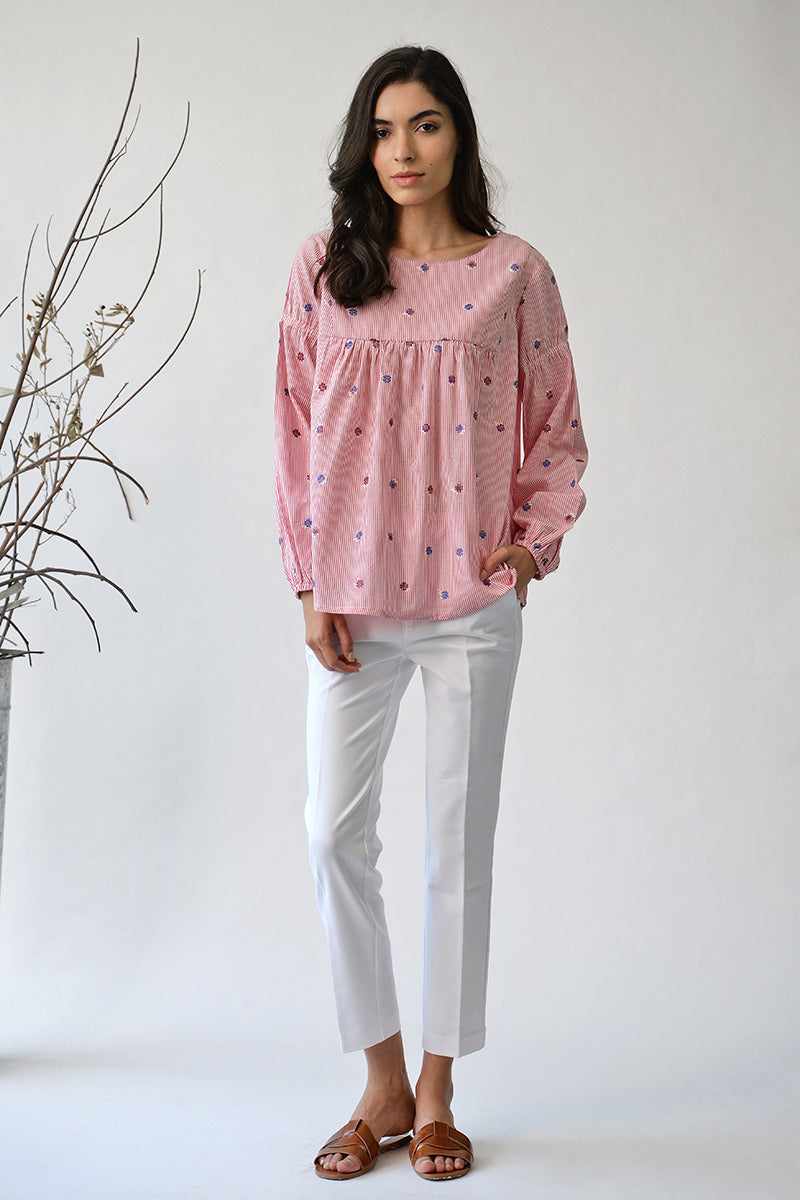 Pink Floribunda Rose Peasant Top