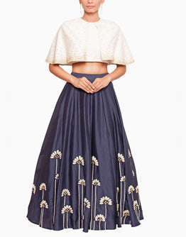 Off White Cape Blouse and Embroidered Blue Lehenga