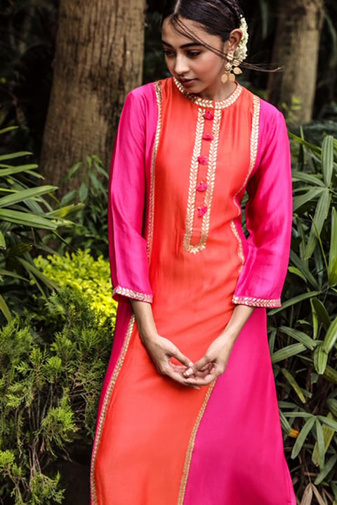 Pink City-Pink & Orange Kurta Set-INDIASPOPUP.COM