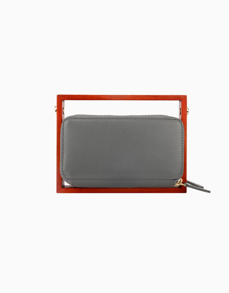 Grey Wood Rectangle Clutch
