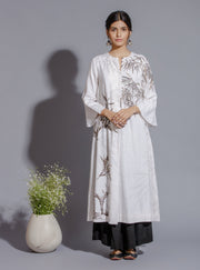 Anju Modi - Off White & Black Kurta With Palazzo - INDIASPOPUP.COM