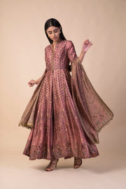 Ekaya - Pink Silk Anarkali Set With Dupatta - INDIASPOPUP.COM