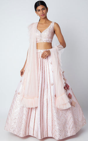 Pink Peacock Couture-Blush Pink Embroidered Lehenga Set-INDIASPOPUP.COM