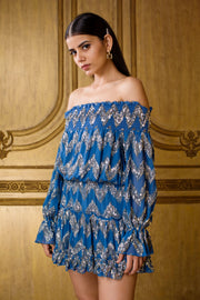 Kangana Trehan-Elephant Blue Off -Shoulder Dress-INDIASPOPUP.COM