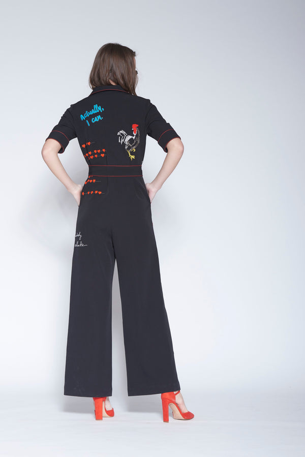Shahin Mannan-Black Jumpsuit With Buckle Belt-INDIASPOPUP.COM