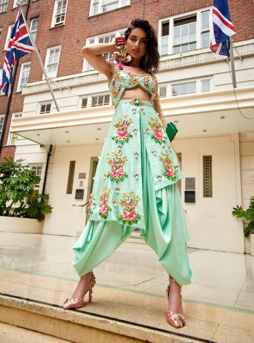 Green Embroidered Dhoti Jumpsuit