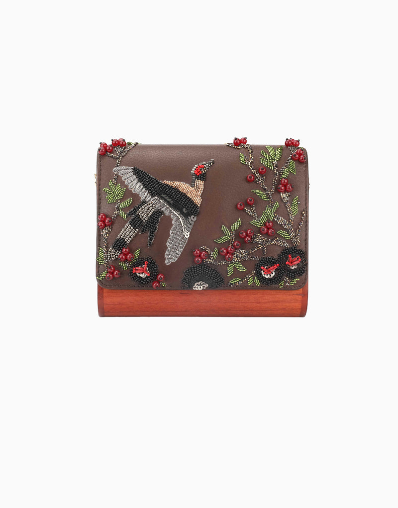 Duet Luxury - Brown Wood Flap Clutch - INDIASPOPUP.COM