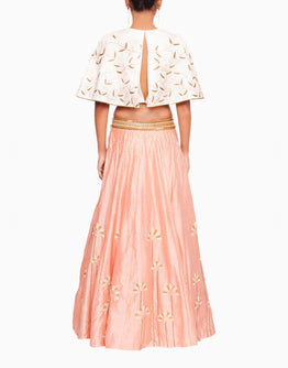 Off White Cape Blouse and Embroidered Peach Pink Lehenga