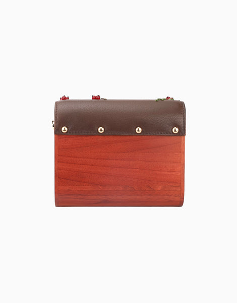 Brown Wood Flap Clutch