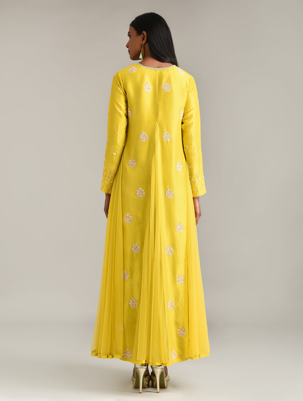 MADSAM TINZIN YELLOW EMBROIDERED JACKET & KURTA SET