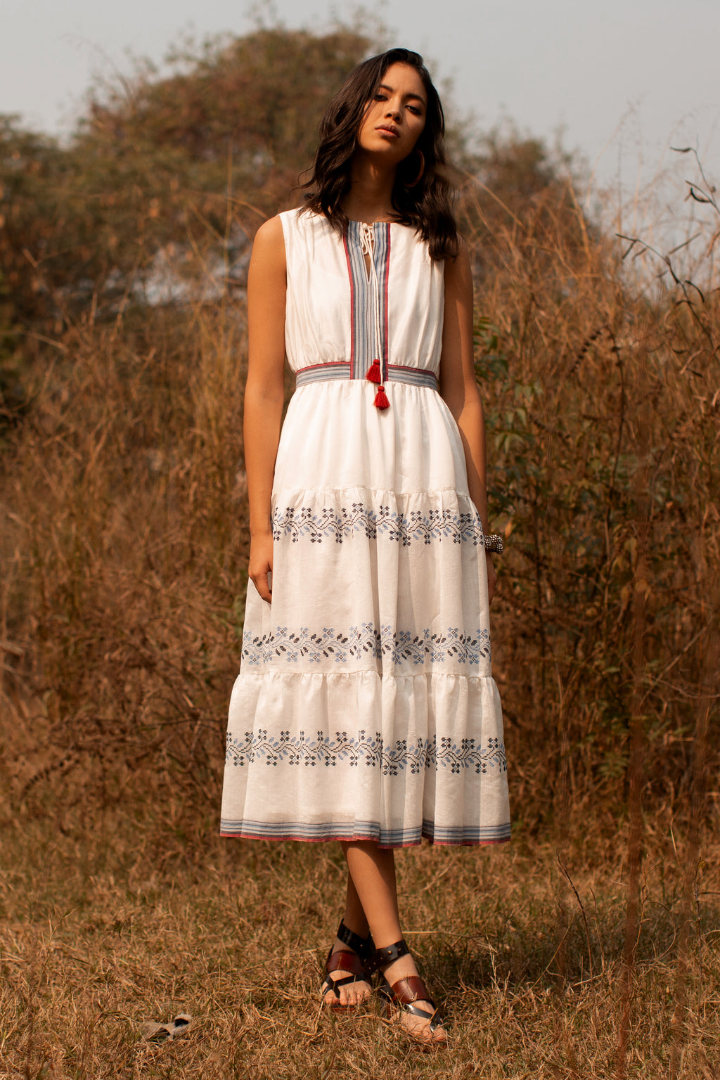 Payal Pratap-Ecru Ida Tassel Dress-INDIASPOPUP.COM