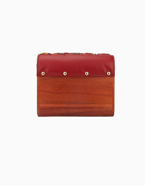 Red Wood Flap Clutch