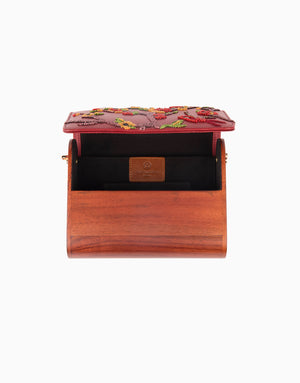 Duet Luxury - Red Wood Flap Clutch - INDIASPOPUP.COM