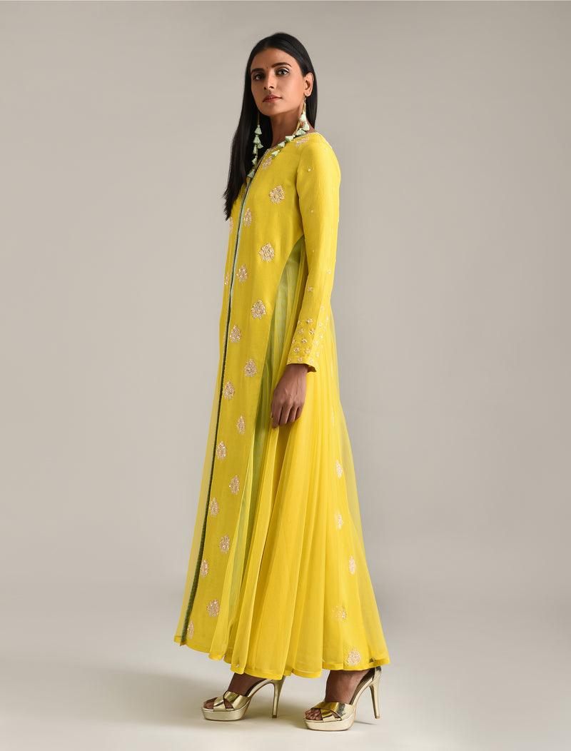 Madsam Tinzin - Yellow Embroidered Jacket & Kurta Set - INDIASPOPUP.COM