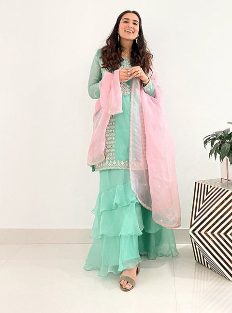 Pink City-Green & Pink Organza Ruffled Sharara Set-INDIASPOPUP.COM