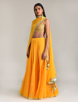 Sunrise Orange Embroidered Lehenga Set