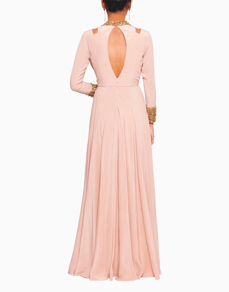SALT AND SPRING BLUSH GOWN WITH NALKI COLLAR EMBROIDERY