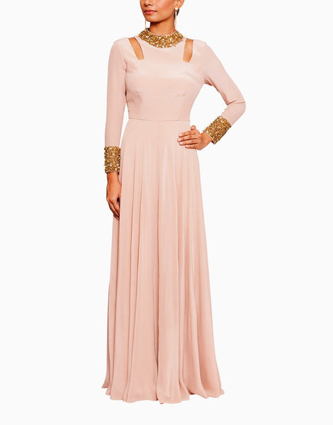 Blush Pink Gown With shoulder Cut Outs and Nalki embroidery