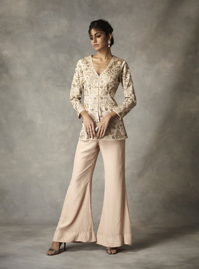 Zoraya - Pink Embroidered Jacket Pant Set - INDIASPOPUP.COM