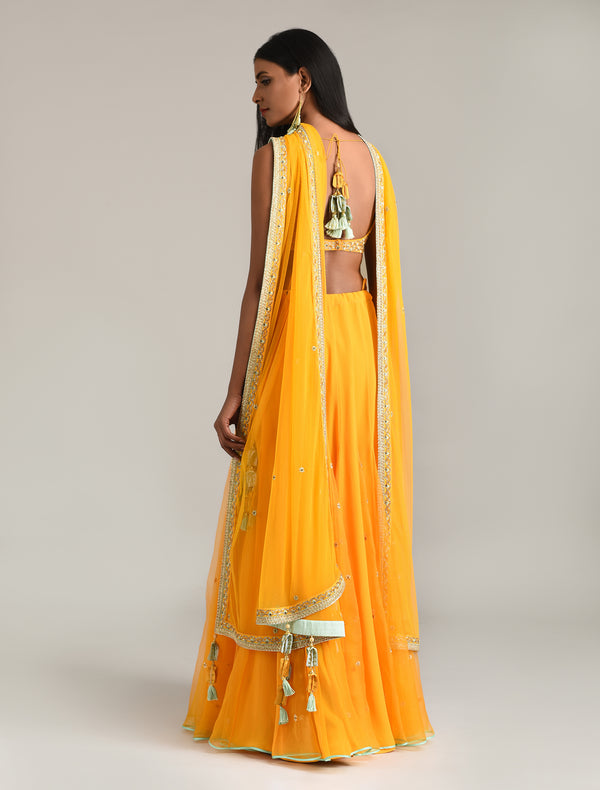 Madsam Tinzin - Sunrise Orange Embroidered Lehenga Set - INDIASPOPUP.COM