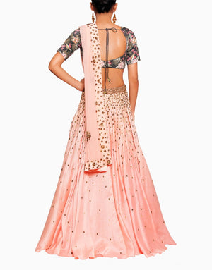 SALT AND SPRING TROPICAL PRINT FALL LEAF LEHENGA