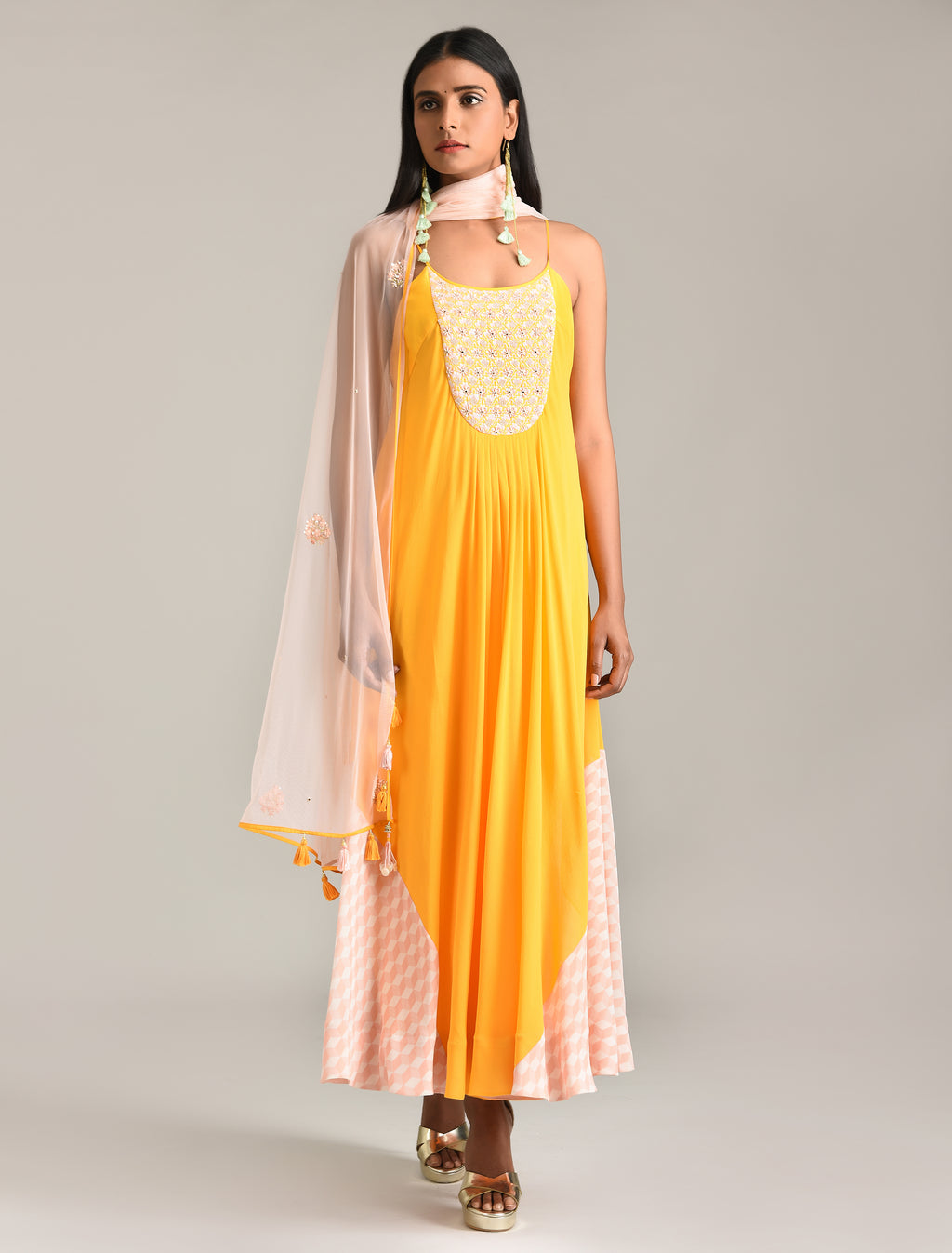 MADSAM TINZIN SUNRISE ORANGE SPAGHETTI KURTA SET