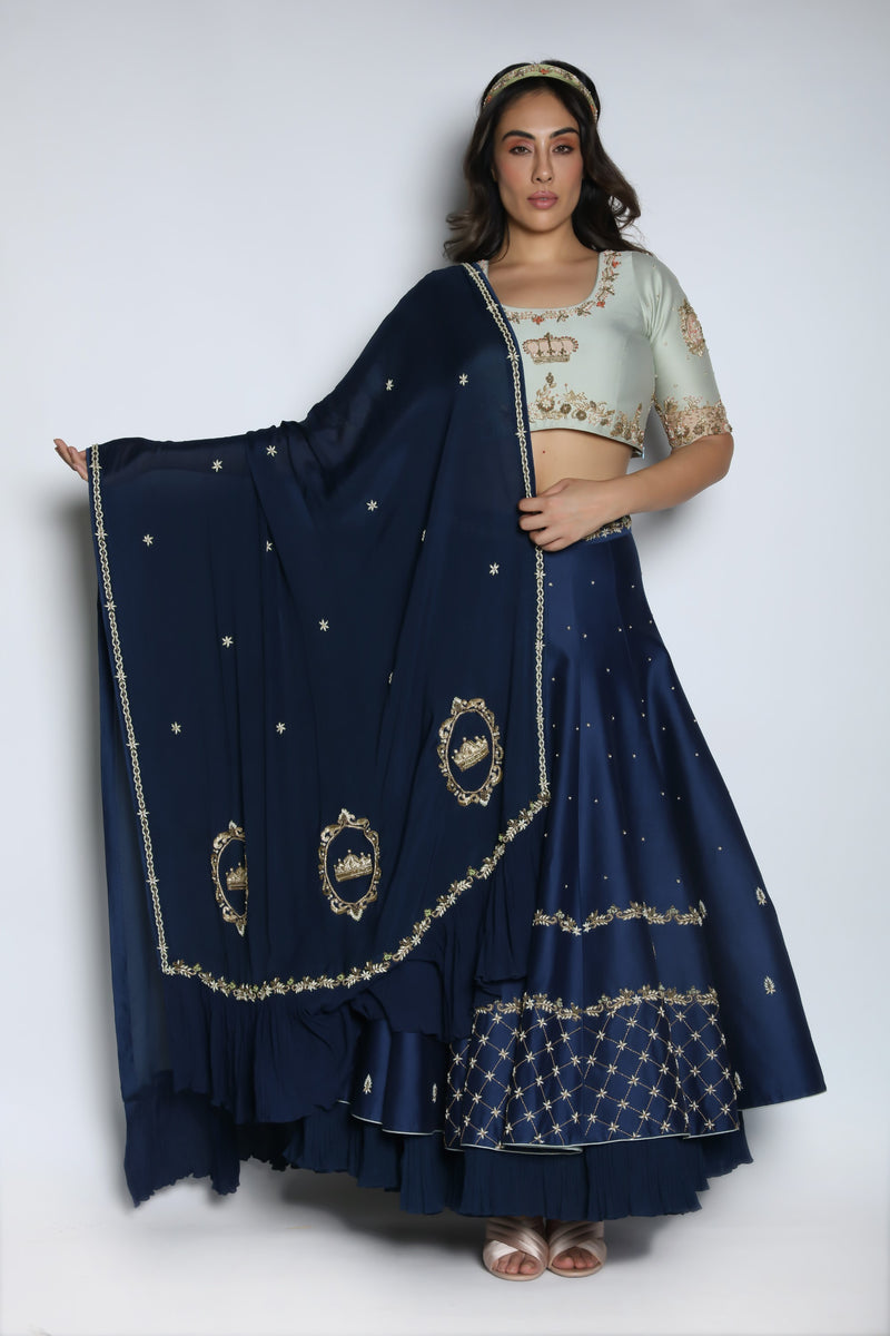 Nautanky - Midnight Blue Lehenga Set With Dupatta - INDIASPOPUP.COM