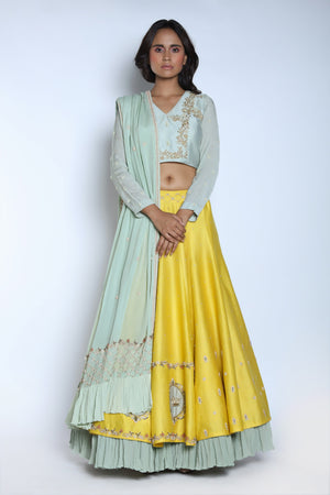 Nautanky - Yellow Layered Lehenga Set With Dupatta - INDIASPOPUP.COM